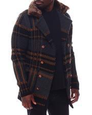 Stylist Picks - Plaid Peacoat w Removable Faux Fur-2562036