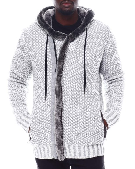 Buyers Picks - Asymmetrical Zip Hoodie Sweater w Removable Faux Fur Trim