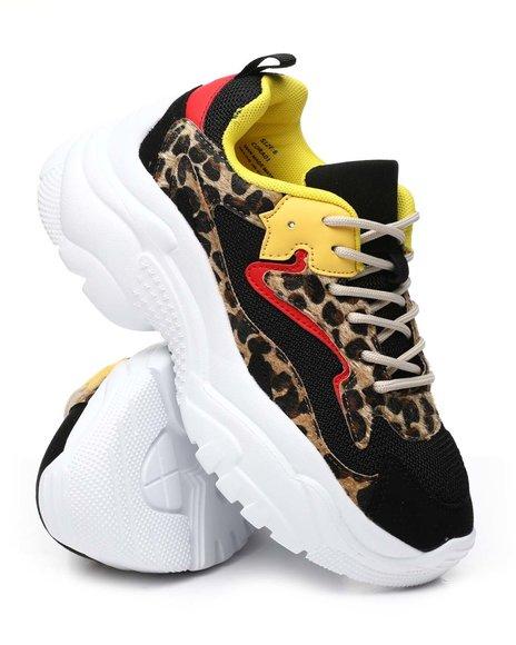 Fashion Lab - Chunky Platform Leopard Printed Sneakers