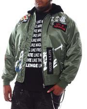 SMOKE RISE - Graffiti Bomber Jacket with Fur Hood (B&T)-2561666