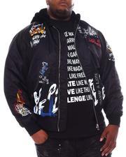 Big & Tall Faves - Graffiti Bomber Jacket with Fur Hood (B&T)-2561681