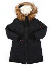 Outerwear - Faux Fur Trim Hood Long Parka Jacket (7-16)-2560809