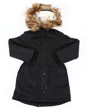 Outerwear - Faux Fur Trim Hooded Parka Jacket (7-16)-2560813