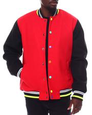 SWITCH - Contrast Sleeve Varsity Jacket  w Multi Color Snap Button-2561060