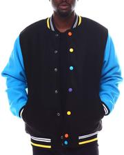 SWITCH - Contrast Sleeve Varsity Jacket  w Multi Color Snap Button-2561084