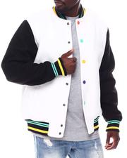 SWITCH - Contrast Sleeve Varsity Jacket  w Multi Color Snap Button-2561155