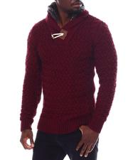 Men - Toggle Shawl Collar Sweater with Faux Fur Zip Neck-2562041