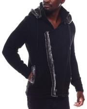 Black Friday Deals - Asymmetrical Zip Hoodie Sweater w Removable Faux Fur Trim-2562075