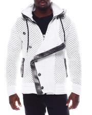 Stylist Picks - Asymmetrical Button Placket zipHoodie Sweater w Removable Faux Fur Trim-2562080