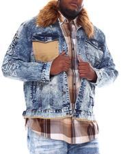 Big & Tall Faves - Distressed Denim Jacket with Fur Collar (B&T)-2561685