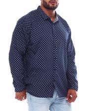 Big & Tall Faves - Polka Dot Long Sleeve Woven Shirt (B&T)-2562431
