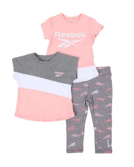 Reebok - 3 Pc Logo Tee, Printed Tee, & Leggings Set (4-7)