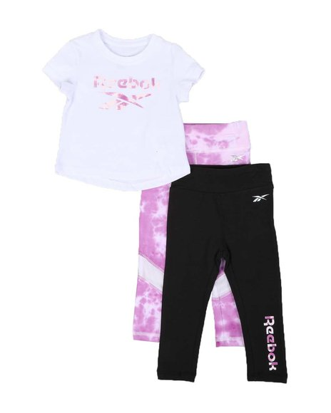 Reebok - 3 Pc Logo Tee, Solid & Print Leggings Set (4-7)