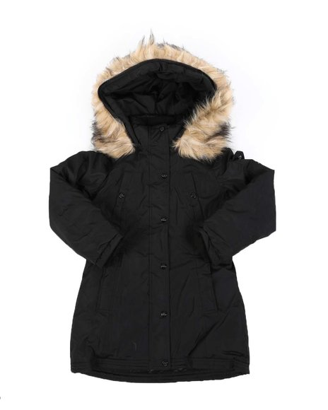 Steve Madden - Faux Fur Trim Hood Long Parka Jacket (7-16)