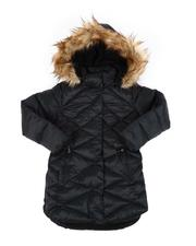 Outerwear - Quilted Faux Fur lined Hood Long Puffer Jacket (7-16)-2558928