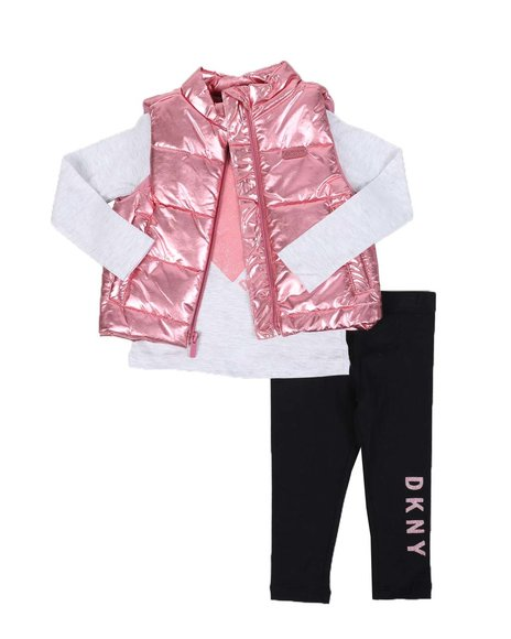 DKNY Jeans - 3 Pc Mock Neck Vest, Long Sleeve Heart Tee & Leggings Set (2T-4T)