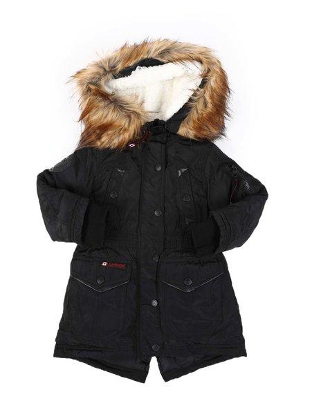 Canada Weather Gear - Faux Fur Trim Hood Long Parka Jacket (2T-4T)