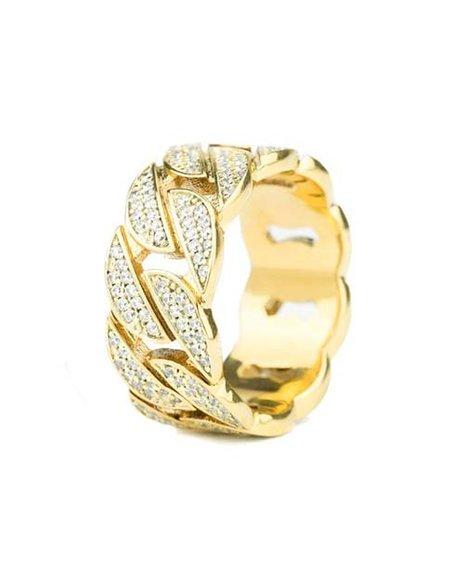 The Gold Gods - Diamond Cuban Ring- Gold