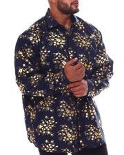 Button-downs - Floral Gold Foil Long Sleeve Woven Shirt (B&T)-2562399