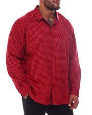 Big & Tall Faves - Printed Long Sleeve Woven Shirt (B&T)-2562460