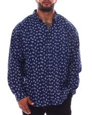 Big & Tall Faves - Printed Long Sleeve Woven Shirt (B&T)-2562435