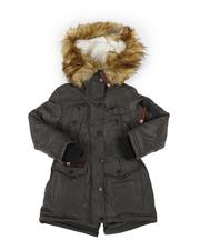 Outerwear - Faux Fur Trim Hood Parka Jacket (4-6X)-2559021