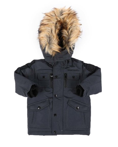 DIESEL KIDS - Hooded Parka Jacket W/ Faux Fur Trim (2T-4T)