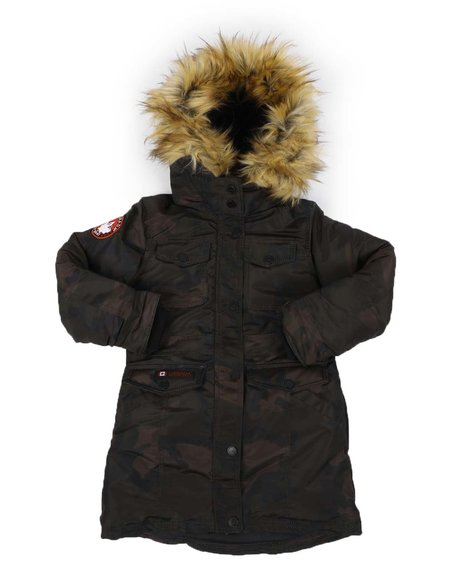 Canada Weather Gear - Faux Fur Trim Hood Long Parka Jacket (7-16)