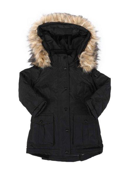Steve Madden - Faux Fur Trim Hood Long Parka Jacket (4-6X)