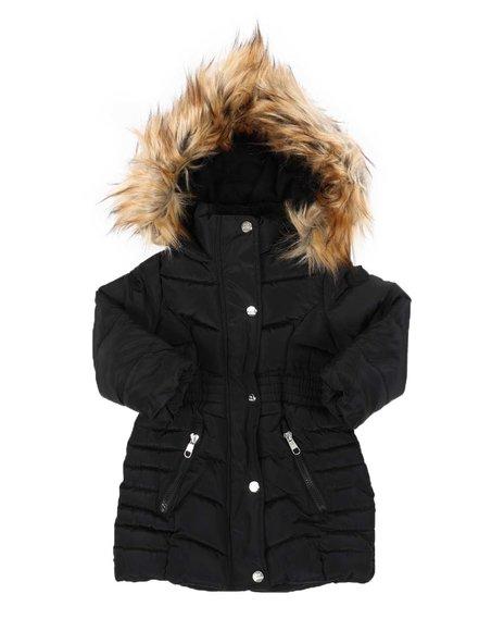 Steve Madden - Faux Fur Trim Long Puffer Jacket (2T-4T)