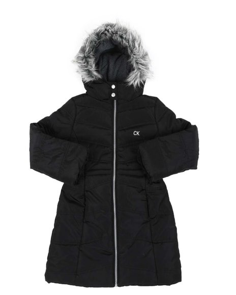 Calvin Klein - Puffer Jacket W/ Faux Fur Trim Hood (7-16)