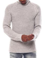 KARL LAGERFELD PARIS - Asymmetrical Zip Ribbed Turtleneck Sweater-2560931