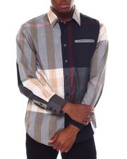 Button-downs - Brit Plaid Ls Woven Shirt with Contrast Window Pane Detail by Veno-2563171
