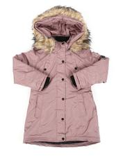 Outerwear - Faux Fur Trim Hood Long Parka Jacket (7-16)-2558844