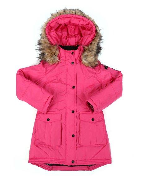 Steve Madden - Faux Fur Trim Hood Long Parka Jacket (7-16)