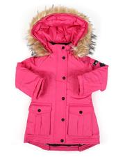 Outerwear - Faux Fur Trim Hood Long Parka Jacket (4-6X)-2559001