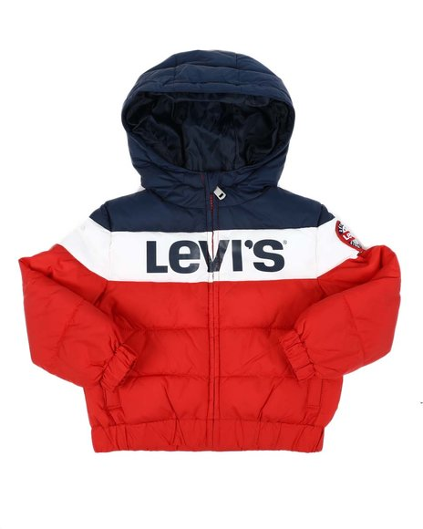 Levi's - Color Block Rocket Hooded Puffer Jacket (2T-4T)