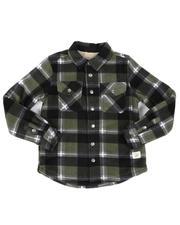 Button-downs - Plaid Polar Fleece Sherpa Bonded Flannel Shirt (4-16)-2559836