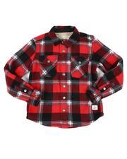 Tops - Plaid Polar Fleece Sherpa Bonded Flannel Shirt (4-16)-2559842