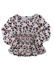 Kensie Girl - Rouched Long Sleeve Animal Print Top (2T-4T)-2559848