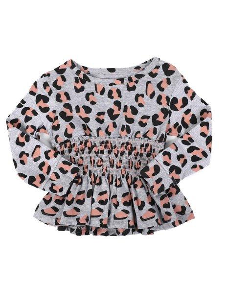 Kensie Girl - Rouched Long Sleeve Animal Print Top (2T-4T)
