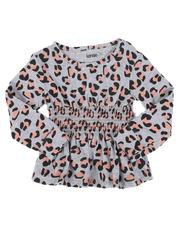 Tops - Rouched Long Sleeve Animal Print Top (4-7)-2559852