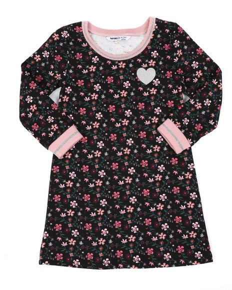 Kensie Girl - Floral Long Sleeve Sporty Dress (7-16)