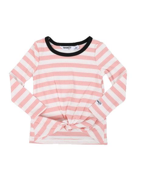 Kensie Girl - Twist Front Stripe Long Sleeve Top (2T-4T)
