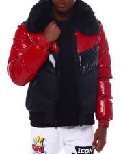 Jordan Craig - Chevron colorblock Puffer Coat w  Removable Faux Fur collar - Crimson-2561109