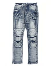 Bottoms - Cut & Sew Stretch Jeans W/ Articulated Knees (8-18)-2563382