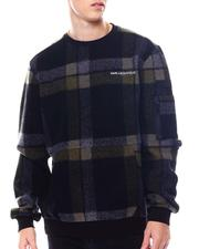 KARL LAGERFELD PARIS - Plaid Sherpa LS Crewneck-2560914