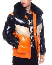 Jordan Craig - Chevron Colorblock Puffer Coat w  Removable Faux Fur Collar-2561116