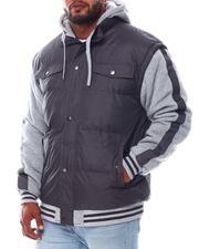Heavy Coats - Fleece Striped Sleeve Nylon Vest Hooded Jacket (B&T)-2562836