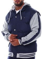 Heavy Coats - Fleece Striped Sleeve Nylon Vest Hooded Jacket (B&T)-2562504